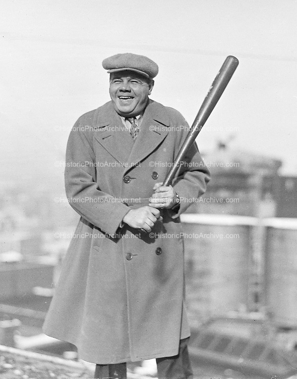 0610-03 Babe Ruth visited Portland in December, 1926, arriving Monday the 13th on the train from Tacoma. He appeared nightly for one week at Pantages delivering his vaudeville act. On the 17th he played a large benefit performance outdoors. At the Police Museum is a autographed baseball and photo of Babe Ruth with Portland's Chief of Police Jenkins and in that photo Ruth is wearing the same hat. Babe Ruth departed Portland on the 19th.
