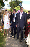 Alexandra, William and Jonathan Aitken,. Marriage of Emilia Fox to Jared Harris. St. Michael's and All Angels. Steeple. Nr. Wareham. Dorset. 16 July 2005. ONE TIME USE ONLY - DO NOT ARCHIVE  © Copyright Photograph by Dafydd Jones 66 Stockwell Park Rd. London SW9 0DA Tel 020 7733 0108 www.dafjones.com