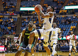 Jan 21, 2019; Morgantown, WV, USA; West Virginia Mountaineers guard Brandon Knapper (2) shoots during the second half against the Baylor Bears at WVU Coliseum. Mandatory Credit: Ben Queen-USA TODAY Sports