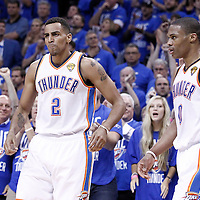 12 June 2012: Oklahoma City Thunder shooting guard Thabo Sefolosha (2) celebrates with Oklahoma City Thunder point guard Russell Westbrook (0) during the Oklahoma City Thunder 105-94 victory over the Miami Heat, in Game 1 of the 2012 NBA Finals, at the Chesapeake Energy Arena, Oklahoma City, Oklahoma, USA.
