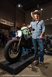 Colt Wrangler Lyons with his all electric custom (that started life as a Zero brand electric bike) at the Handbuilt Show. Austin, TX. USA. Saturday April 21, 2018. Photography ©2018 Michael Lichter.