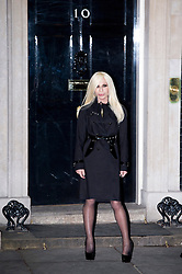 © London News Pictures. 15/02/2013. London, UK.  Fashion designer Donatella Versace arriving at 10 Downing Street for a London Fashion Week launch party hosted by Samantha Cameron on February 15, 2013. Photo credit : Ben Cawthra/LNP