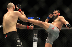 Volkan Oezdemir and Dominick Reyes (right) in action during their Light Heavyweight bout during UFC Fight Night 147 at The O2 Arena, London.