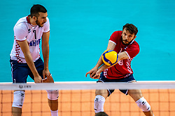 Tsimafei Zhukouski of Croatia, Sven Sarcevic of Croatia in action during the CEV Eurovolley 2021 Qualifiers between Croatia and Netherlands at Topsporthall Omnisport on May 16, 2021 in Apeldoorn, Netherlands
