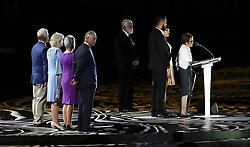 The Prince of Wales onstage as Yugambeh elder Patrica O'Connor speaks during the Opening Ceremony for the 2018 Commonwealth Games at the Carrara Stadium in the Gold Coast, Australia.
