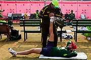 Pakistan National Cricket team captain Shahid Afridi inside Gaddafi Stadium,  during a week long training camp period prior to the 2011 ICC World Cricket cup. Here seen been treated by the team's Physiotherapist