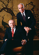 Mckinsey's Spiritual Leader Marvin Bower with red tie and managing partner D. Ronald Daniel, October 1987<br /> Marvin Bower, CEO of McKinsey and Associates pioneered professional management consulting.