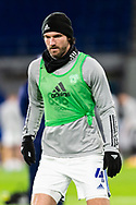 Cardiff City's Sean Morrison (4) in action during the pre-match warm-up at the EFL Sky Bet Championship match between Cardiff City and Birmingham City at the Cardiff City Stadium, Cardiff, Wales on 16 December 2020.