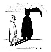 (A black cat's head gives a man's shadow a devilish expression)