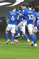 Football - 2020 / 2021 Sky Bet Championship - Swansea City vs Cardiff City - Liberty Stadium<br /> <br /> Aden Flint Cardiff City celebrates scoring his team's first goalin the South Wales local derby match<br /> <br /> COLORSPORT/WINSTON BYNORTH