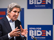 08 JANUARY 2020 - DES MOINES, IOWA: JOHN KERRY, former Secretary of State for President Obama, Democratic presidential nominee in 2004, and surrogate for Joe Biden speaks on Biden's behalf at a campaign event in Des Moines Wednesday. Vice President Biden's surrogates are touring Iowa this week to support Biden's candidacy for the US Presidency. Iowa hosts the first presidential selection event of the 2020 election cycle. The Iowa caucuses are on February 3, 2020.             PHOTO BY JACK KURTZ