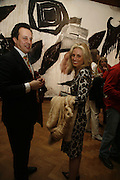 PIA GETTY AND DETMAR BLOW, Andreas Hofer. This Island Earth. Hauser & Wirth London<br />196a Piccadilly. 30 MARCH 2006. ONE TIME USE ONLY - DO NOT ARCHIVE  © Copyright Photograph by Dafydd Jones 66 Stockwell Park Rd. London SW9 0DA Tel 020 7733 0108 www.dafjones.com