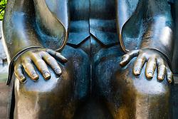 Detail of bronze Statue of Karl Marx  at Alexanderplatz in Berlin German