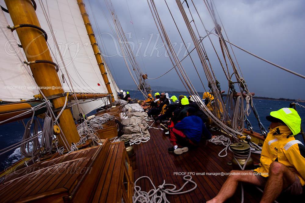 Crew onboard Mariette racing at Regates Royales