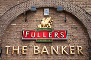 Sign outside The Banker pub. A Fullers Brewery pub.