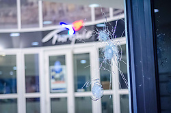 April 21, 2017 - Paris, France - Bullet holes are pictured at the site of a shooting on the Champs Elysees, a day after a gunman opened fire on police along the avenue, killing a policeman and wounding two others in an attack claimed by the Islamic State group just days before the first round of the presidential election. (Credit Image: © Julien Mattia/NurPhoto via ZUMA Press)