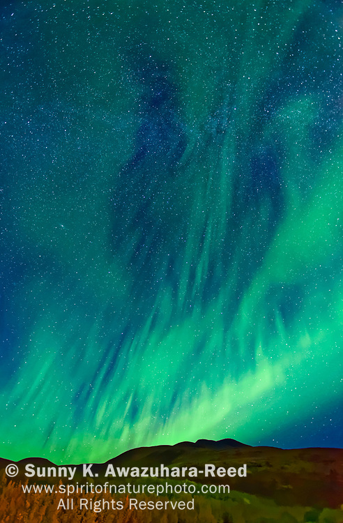 Silky aurora dancing above Mt. Fairplay, Taylor Highway, Interior Alaska, Autumn.