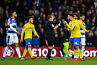 Football - 2018 / 2019 FA Cup - Third Round: Queens Park Rangers vs. Leeds United<br /> <br /> Referee Geoff Eltringham warns Leeds United's Lewis Baker, at Loftus Road.<br /> <br /> COLORSPORT/ASHLEY WESTERN