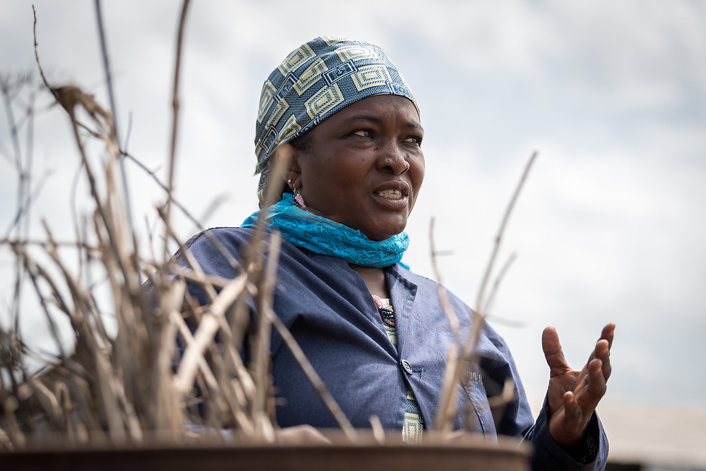 5 June 2019, Gado, Cameroon: Usman Fatou acts as chairlady of the Women's Empowerment site in Gado. She explains how the women these days produce ecological charcoal from branches and twigs around the camp. Supported by the Lutheran World Federation, the Gado refugee camp in he East region of Cameroon hosts more than 25,000 refugees from neighbouring Central African Republic.