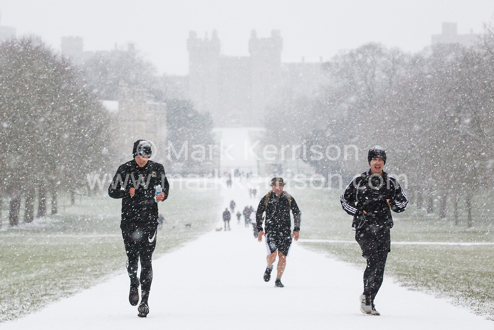 Windsor, UK. 24 January, 2021.  Locals enjoy the first snowfall of 2021 in front of Windsor Castle on the Long Walk in Windsor Great Park. A spell of cold weather is expected to continue until Wednesday.