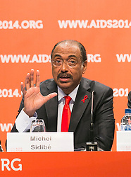 © Licensed to London News Pictures. 20/07/2014. Under-Secretary-General of the United Nations Michel Sidibé speaks during the official opening press conference of the 20th International AIDS conference held in Melbourne Australia on July 20, 2014.  Photo credit : Asanka Brendon Ratnayake/LNP
