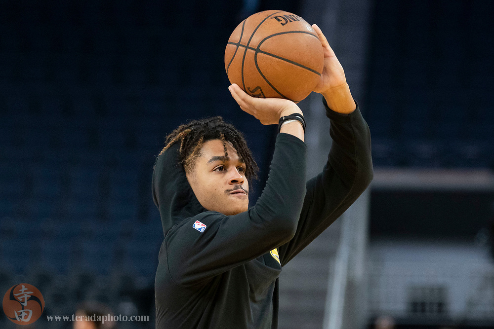 February 23, 2020; San Francisco, California, USA; Golden State Warriors guard Jordan Poole (3) warms up before the game against the New Orleans Pelicans at Chase Center.