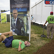 """The extremely hilly terrain and expansive course wore out many fans. Photographed for Sports Illustrated's US Open photo essay """"Behind The Open Curtain: Plotting the Course."""" 8 of 8"""