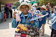 Trader by the Damnern Saduak floating market in Bangkok, Thailand