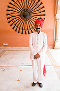 India, Rajasthan, Jaipur The City Palace complex Traditionally dressed guards