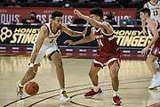 Southern California Trojans forward Isaiah Mobley (3) looks to drive past Stanford Cardinal forward Spencer Jones (14) during an NCAA men's basketball game, Wednesday, March 3, 2021, in Los Angeles. USC defeated Stanford 79-42. (Jon Endow/Image of Sport)