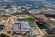 Aerial photograph of the new Verona Area High School, under construction, Wisconsin, USA on a nice spring day.