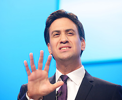 Labour leader Ed Miliband delivering his Keynote speech to the Labour Party Conference delegates at the Brighton Conference Centre, Brighton, United Kingdom. Tuesday, 24th September 2013. Picture by Elliott Franks / i-Images