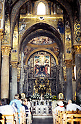 Byzantine wall paintings inside the hermitage church of San Giovanni, San Giovanni degli Eremiti, Palermo, Sicily, Italy in 1999