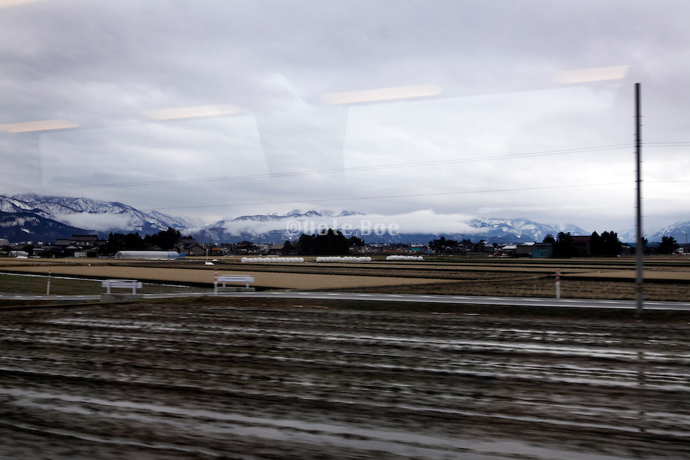 traveling by train through Toyama prefecture Japan