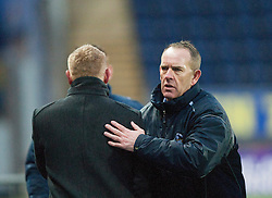 Falkirk's manager Gary Holt and Morton's manager Kenny Shiels at the end.<br /> Falkirk 1 v 1 Morton, Scottish Championship game today at The Falkirk Stadium.<br /> © Michael Schofield.