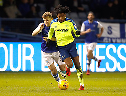 Derby County's Kasey Palmer and Sheffield Wednesday's Jordan Thorniley battle for the ball
