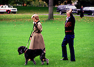 """A 25.7 MG FILE FROM FILM OF:.President and Nancy Reagan walk to Marine One with """"Lucky"""" one of the dogs that they owned while they were at the White House.  Photo by Dennis Brack"""