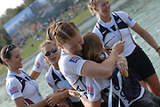 Munich, GERMANY, 02.09.2007,   A Final,USA W8+   celebrate a Gold  medal in the Women's eight final  at the 2007 World Rowing Championships, taking place on the  Munich Olympic Regatta Course, Bavaria. [Mandatory Credit. Peter Spurrier/Intersport Images]..Bow, Brett SICKLER, Lindsay SHOOP, Anna GOODDALE, Samantha MAGEE, Anna MICKELSON, Susanna FRANCIA, Caroline LIND stroke Caryn DAVIES and cox Mary WHIPPLE. , Rowing Course, Olympic Regatta Rowing Course, Munich, GERMANY