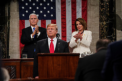 FEBRUARY 5, 2019 - WASHINGTON, DC: President Donald Trump delivered the State of the Union address, with Vice President Mike Pence and Speaker of the House Nancy Pelosi, at the Capitol in Washington, DC on February 5, 2019. Credit: Doug Mills / Pool, via CNP. 05 Feb 2019 Pictured: FEBRUARY 5, 2019 - WASHINGTON, DC: President Donald Trump delivered the State of the Union address, with Vice President Mike Pence and Speaker of the House Nancy Pelosi, at the Capitol in Washington, DC on February 5, 2019. Credit: Doug Mills / Pool, via CNP. Photo credit: Doug Mills - Pool via CNP / MEGA TheMegaAgency.com +1 888 505 6342