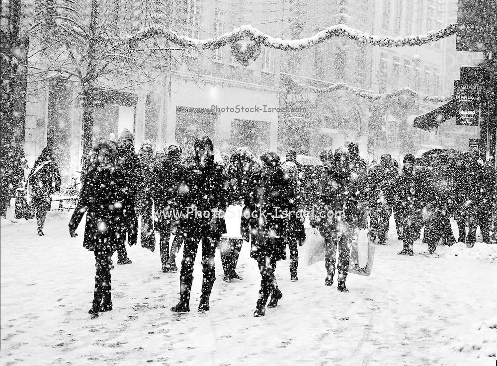 Winter street scene. People walking in the snow