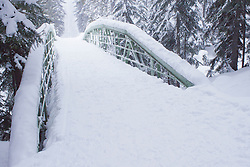 North America, United States, Washington, Crystal Mountain, snow-covered bridge