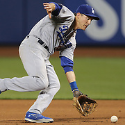 NEW YORK, NEW YORK - May 28:  Chase Utley #26 of the Los Angeles Dodgers makes a great pick up to get the out from second base during the Los Angeles Dodgers Vs New York Mets regular season MLB game at Citi Field on May 28, 2016 in New York City. (Photo by Tim Clayton/Corbis via Getty Images)