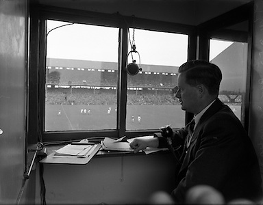 Michael James Hehir, was an Irish hurling, football and horse racing commentator and journalist. Between 1938 and 1985 his enthusiasm and a memorable turn of phrase endeared him to many. He is still regarded as the original 'voice of Gaelic games'.  <br /> <br /> Michael O'Hehir born Dublin 2 June 1920; Michael O'Hehir married 1948 Molly Owens, Michael O'Hehir had three sons and two daughters.  Michael O'Hehir died Dublin 24 November 1996..Michael O'Hehir was the voice of Irish sport for almost half a century..Best known for his vivid commentaries on GAA Gaelic football and hurling matches and horse racing, he was head of sports programmes at Radio Telefis Eireann (RTE) from 1961 to 1972, while he also had a brief spell as manager of Leopardstown Racecourse. Before that, he was racing correspondent for the Irish Independent, a position he held from the late 1940s until the early 1960s. He also produced the Irish Form Book for the Turf Club - a task his son Peter now performs - from 1975 onwards..Michael O'Hehir was Born in Dublin in 1920, Michael O'Hehir began commentating as a schoolboy at the tender age of 18. ..Michael O'Hehir was given a five-minute microphone test during the first half of a GAA league match, and the director of broadcasting at RTE, Dr T.J. Kiernan, was so impressed with him that he allowed him to commentate on the whole of the second half. Two months later, in 1938, Michael O'Hehir  made his first broadcast when he covered the All-Ireland football semi- final between Monaghan and Galway..On Sunday afternoons in the 1940s and 1950s people gathered around the radio to listen to him. Michael O'Hehir covered