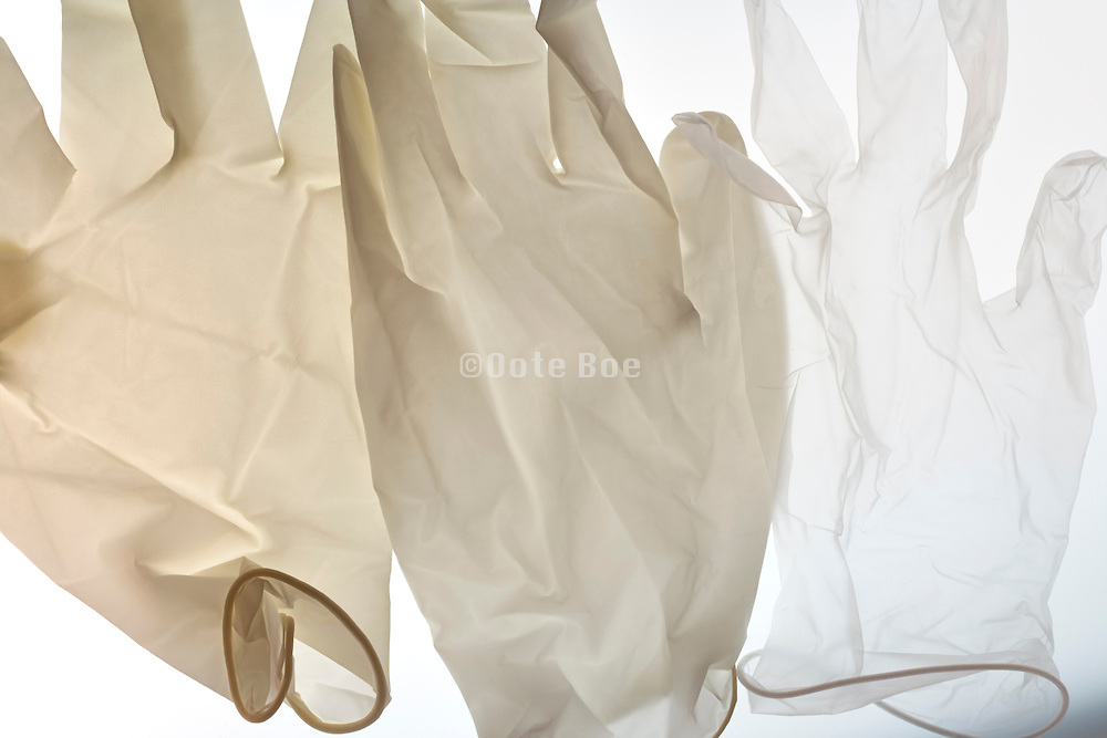 various disposable latex gloves