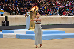 October 31, 2017 - Athens, Attiki, Greece - During the Choreography performed by the Priestesses. The Handover Ceremony of the Olympic Flame for Winter Games PYEONGCHANG 2018, took place today in Panathenaic Stadium in the presence of the President of Hellenic Republic Prokopis Pavlopoulos. (Credit Image: © Dimitrios Karvountzis/Pacific Press via ZUMA Wire)