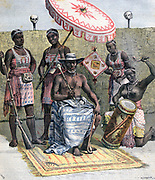 Behanzin (d.1906) king of Dahomey (now Benin Republic) 1889-1894, seated, holding symbols of kingship, and surrounded by attendants.  From 'Le Petit Journal', Paris, 23 April 1892. Africa, Colonialism, French