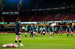 Wales players during the captains run<br /> <br /> Photographer Simon King/Replay Images<br /> <br /> Six Nations Round 5 - Wales v Ireland Captains Run - Saturday 15th March 2019 - Principality Stadium - Cardiff<br /> <br /> World Copyright © Replay Images . All rights reserved. info@replayimages.co.uk - http://replayimages.co.uk
