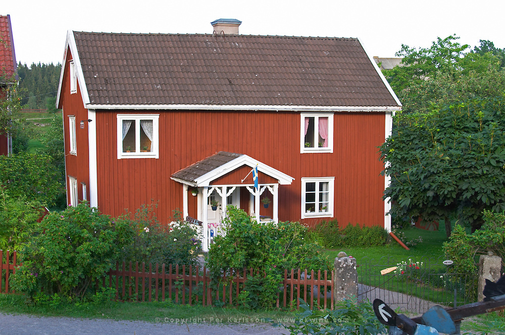 The red houses on the road in Bullerbyn Sörgården, The South House. The original location where Astrid Lindgren's story on Bullerbyn was filmed. In reality called Sevedstorp. Smaland region. Sweden, Europe.