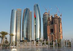 Modern skyscrapers under construction in Abu Dhabi united Arab Emirates