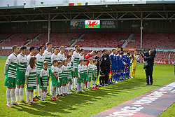 WREXHAM, WALES - Monday, May 2, 2016: The New Saints and Airbus UK Broughton players before the 129th Welsh Cup Final at the Racecourse Ground. (Pic by David Rawcliffe/Propaganda)